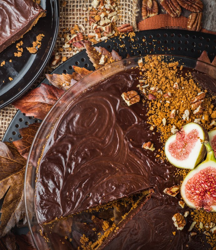 Spiced Chocolate Ganache Tart with Biscoff Cookie Crust