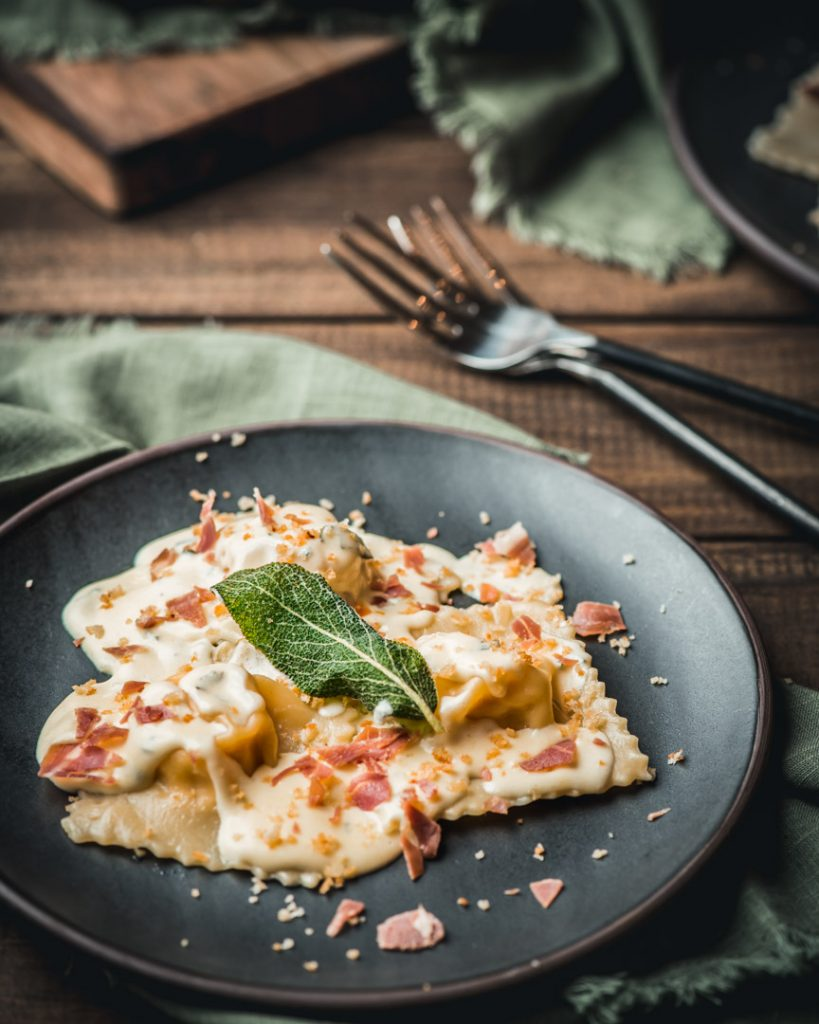 Pumpkin Ravioli with Parmesan Sage Cream Sauce