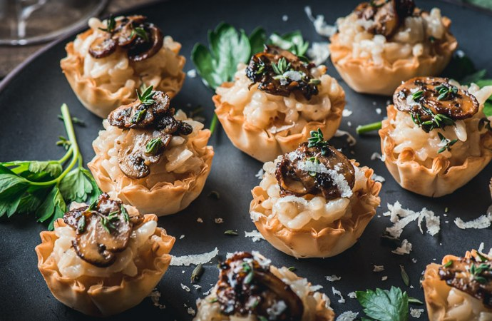 Parmesan Risotto and Mushroom Ragù Phyllo Cup Bites