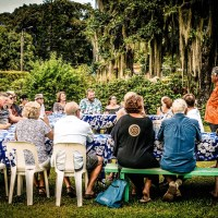 group of diners on progressive dinner tour