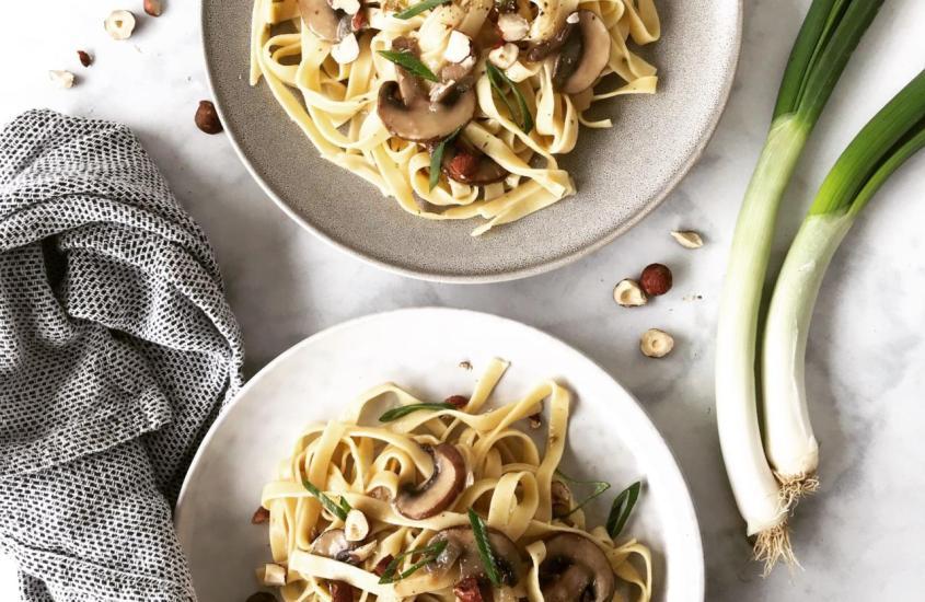 Champignon Pasta mit Haselnüssen – One Pot