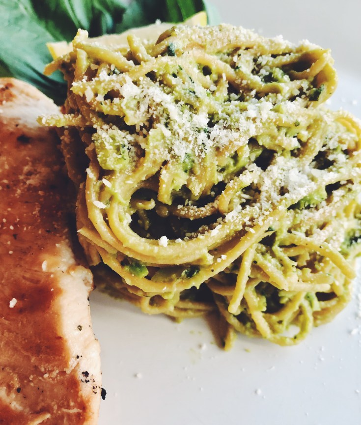 Avocado Basil Pesto Pasta with Lemon Garlic Chicken
