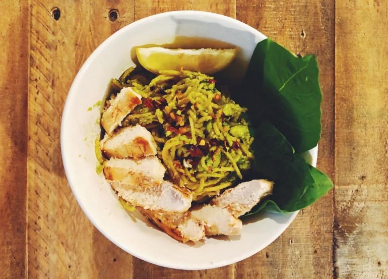 Avocado Basil Pesto Pasta with Lemon Garlic Chicken- Cook It Healthier