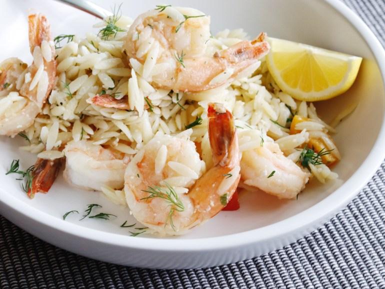 Recipe   Spring Herb Orzo Salad with Shrimp   cookithealthier.com