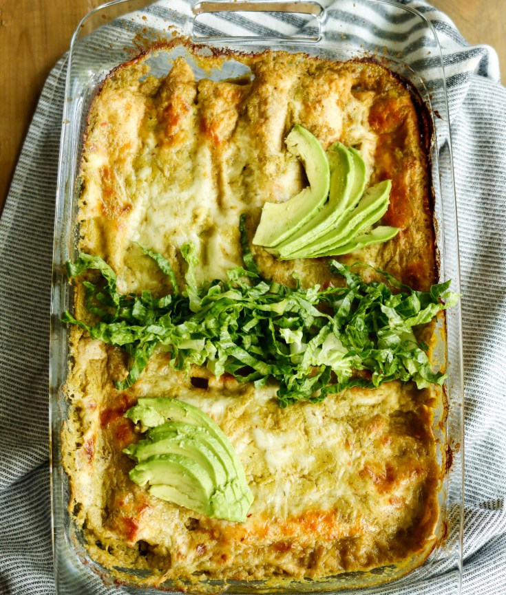 RECIPE | Roasted Poblano Pepper Chicken Enchiladas with creamy green sauce | cookithealthier.com