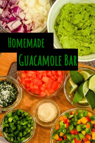 individual ingredients prepped to make guacamole, including red onion, yellow onion, avocado, tomatoes, lime, red pepper, orange pepper, yellow pepper, green pepper, garlic, jalapeno, cilantro, and salt