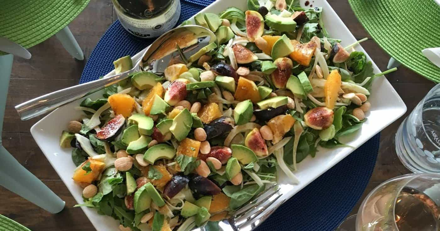 Arugula and Fig Salad with Citrus Dressing and Marcona Almonds