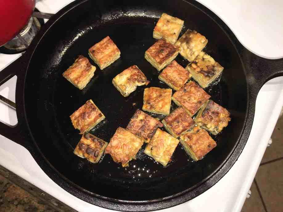 crispy pan-fried tempeh