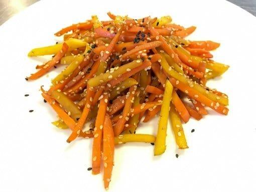 photo of carrot and rutabaga kinpira vegetable dish
