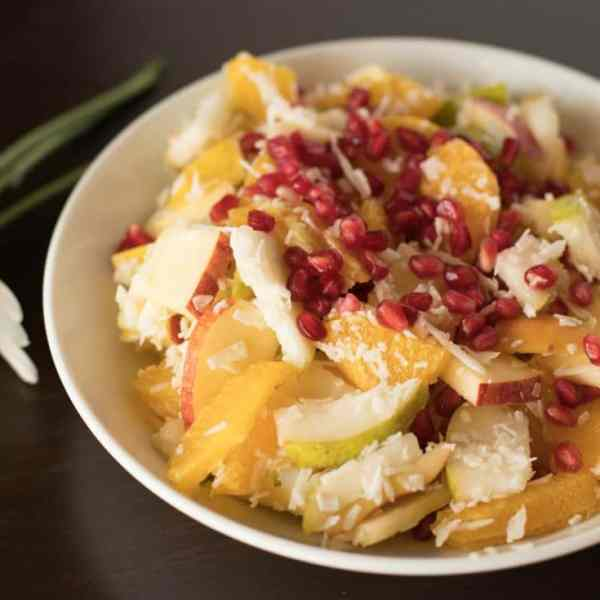 Winter Fruit Salad with Pomegranate and Coconut