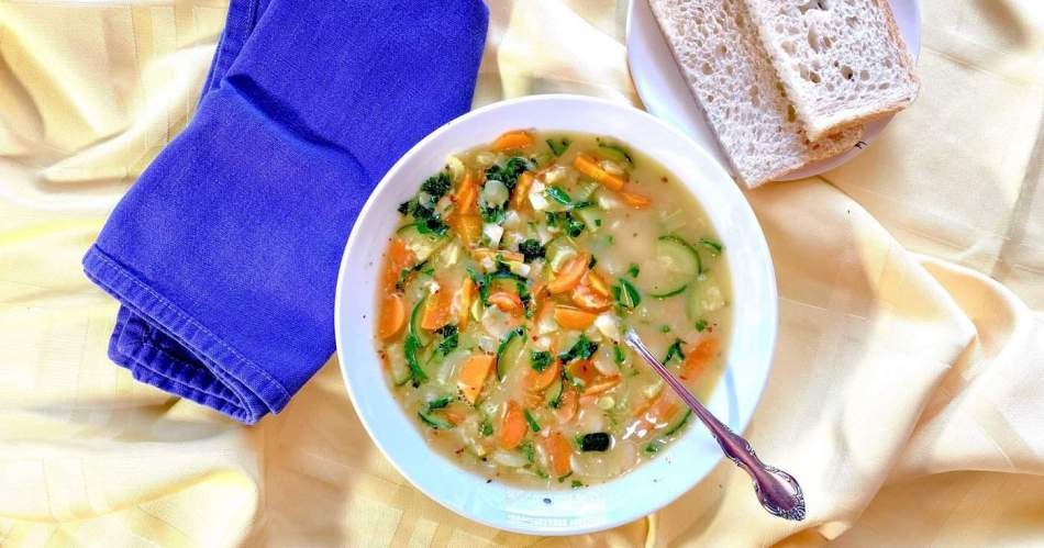 Rusic White Bean Soup with Fresh Rosemary and Basil •Cook Love Heal by Rachel Zierzow