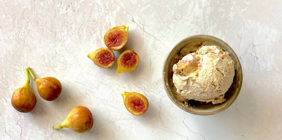 Fig Ice Cream with Coconut, Cashews, and Lemon