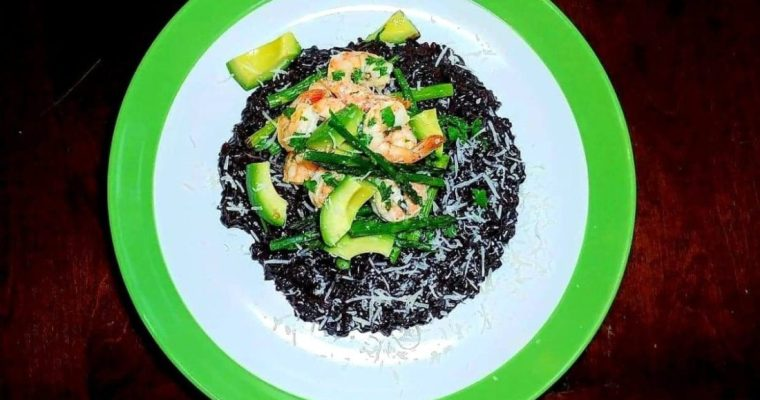 BLACK RICE RISOTTO WITH LEMONY SHRIMP AND ROASTED ASPARAGUS