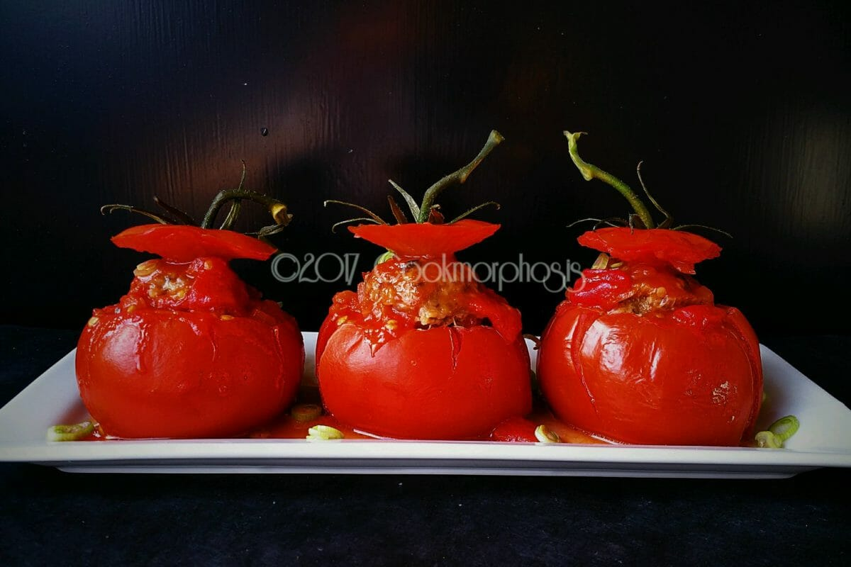 stuffed tomatoes with pork and shitake mushroom
