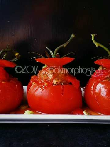 stuffed tomatoes with pork and shitake mushroom