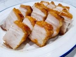 roasted crispy pork belly with crackling skins