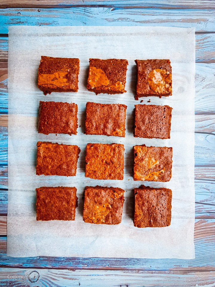 easy and fudgy brownies cut into 12 even squares