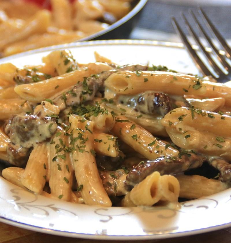 steak penne pasta