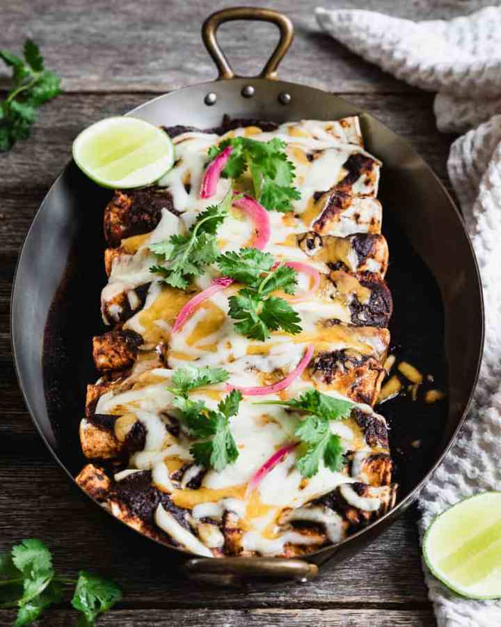 beef enchiladas garnished with cilantro and pickled red onions