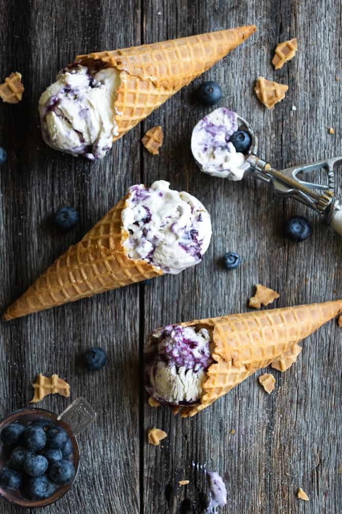 No-Churn Blueberry Swirl Ice Cream