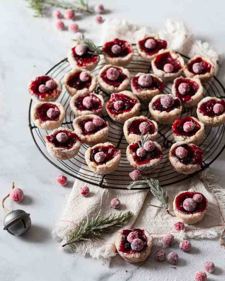 Cranberry and Rosemary Tassies on cooling rack
