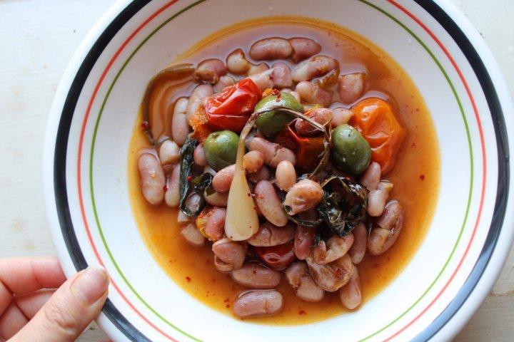 Citrus Braised Beans, Ramps, Tomatoes, and Olives
