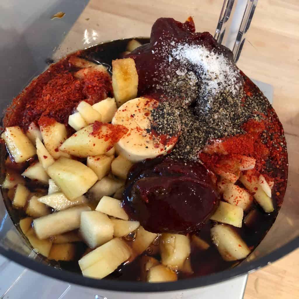 galbi jjim sauce ingredients in food processor.