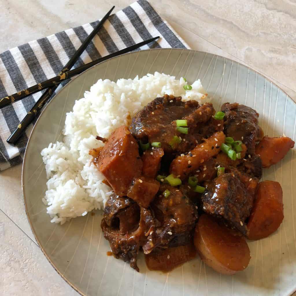 Slow Cooker Galbi Jjim (Korean Short Ribs) with Rice