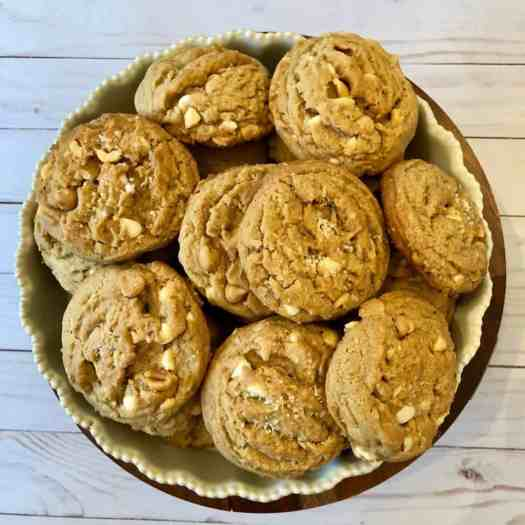 peanut butter white chocolate peanut butter chip cookies on white bowl