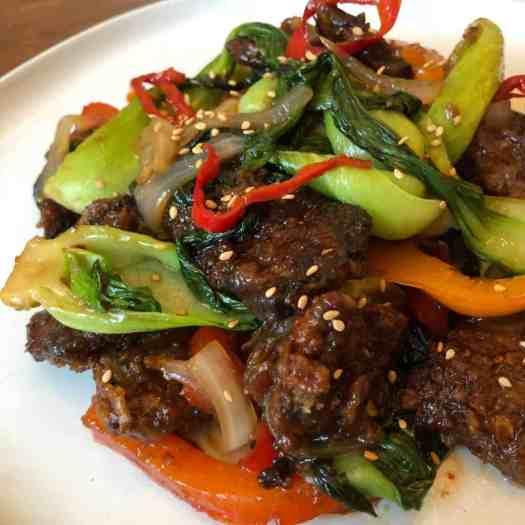 beijing beef crispy beef bok choy