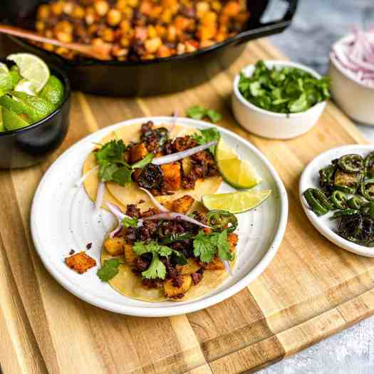 Chorizo and Potato Tacos with garnishes