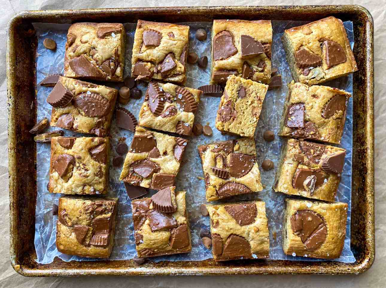 Peanut Butter Blondies with Reese's Peanut Butter Cups