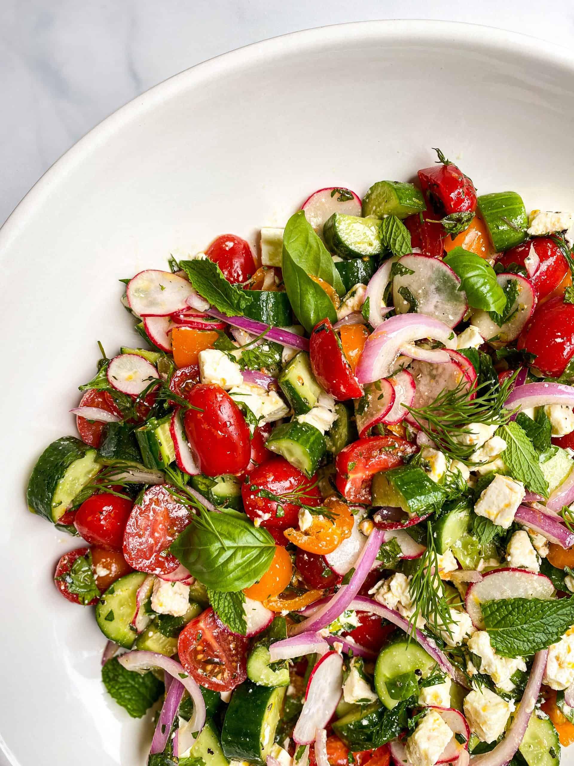 Greek Salad with Herb Marinated Feta
