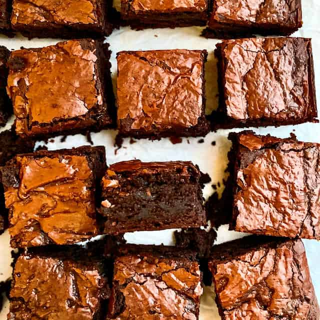 Close up image of sliced classic fudge brownies
