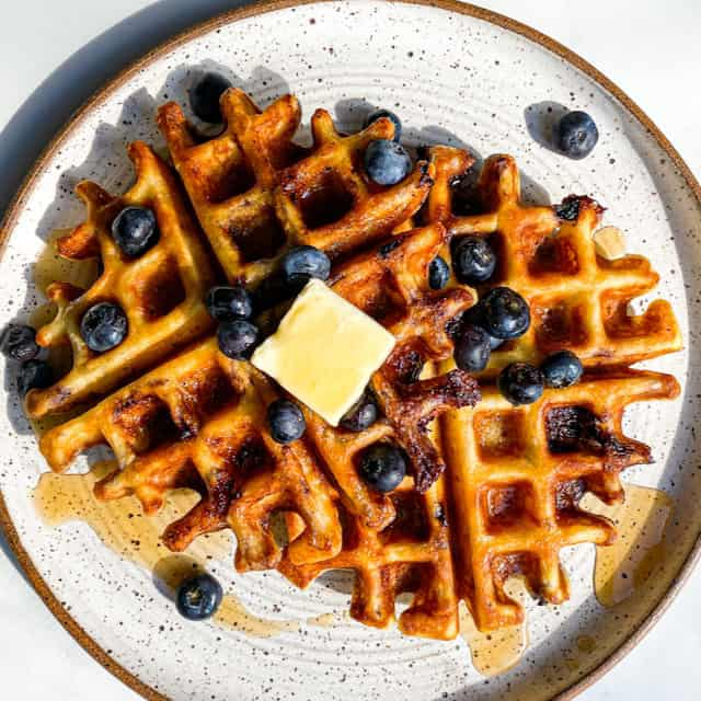 Plateful of Lemon Ricotta Blueberry Swirl Waffles