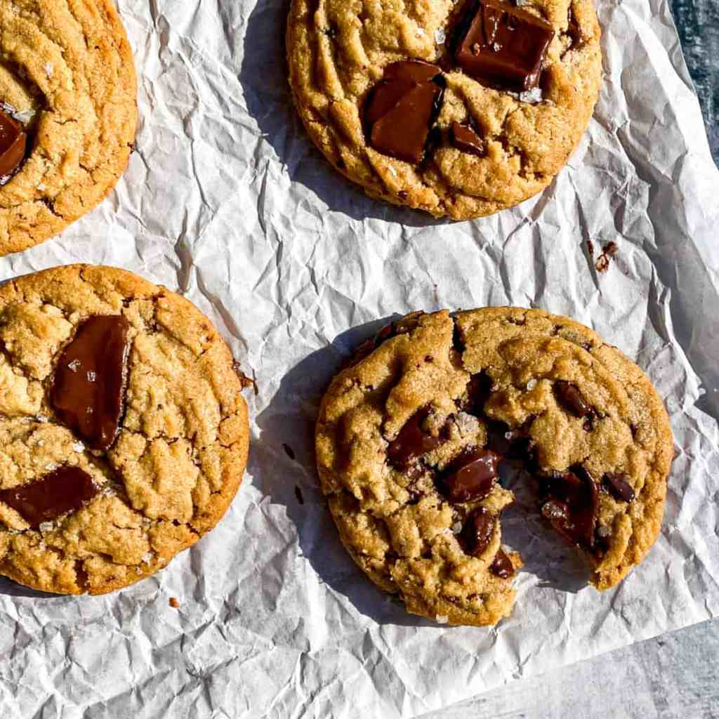 Peanut Butter Chopped Chocolate Cookies on parchment paper.