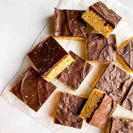 Delicious squares of Peanut Butter-Chocolate Rice Krispie Treats