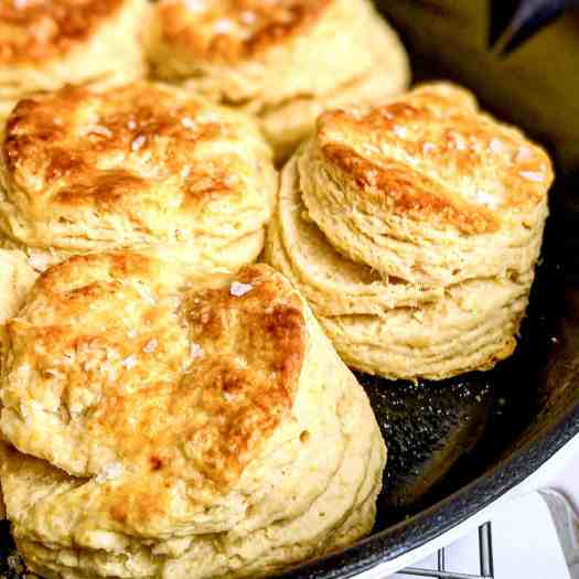 Flaky Buttermilk Biscuits baked in a cast iron pan