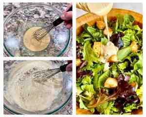 Image collage showing the steps of mixing Easy Creamy Caesar Dressing