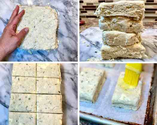 A photo collage showing shaping biscuit dough, stacking squares of dough together, cutting and egg washing biscuits