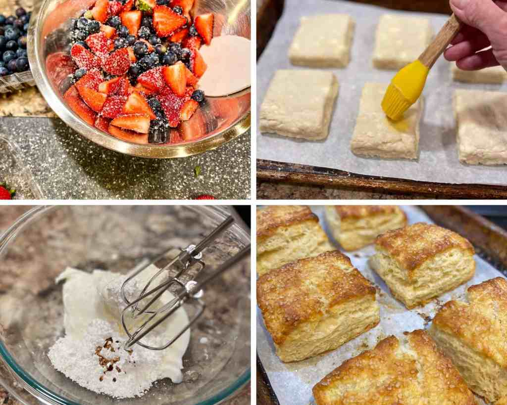 A collage of photos showing fruit being macerated, biscuits being egg-washed, Greek yogurt cream being whipped, and finished biscuits on a sheet tray.