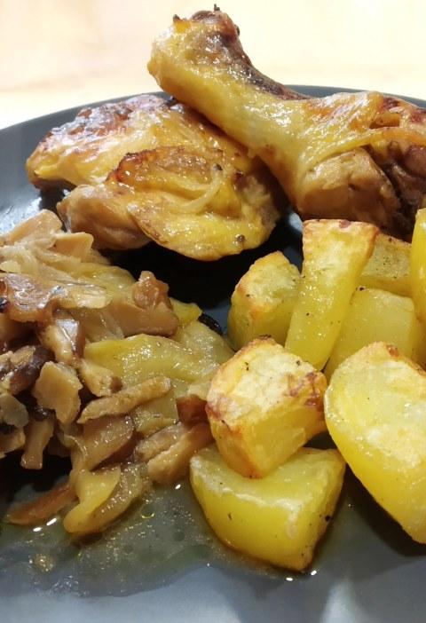 Receta de Pollo con manzana y setas
