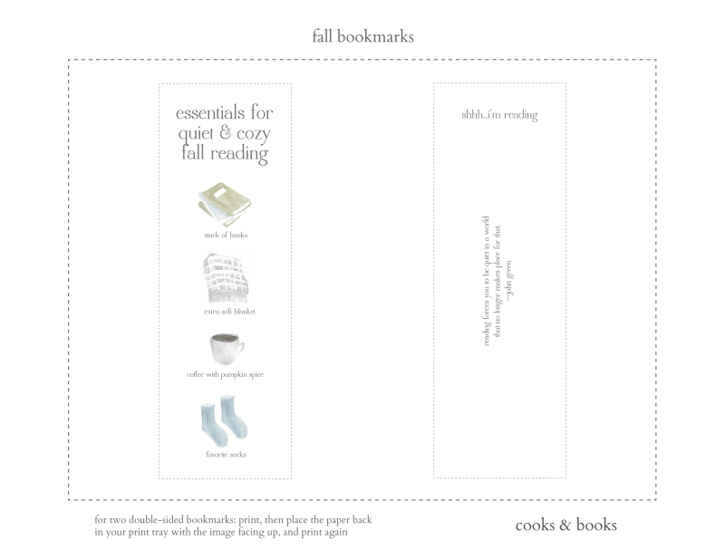 Free printable bookmarks for the fall