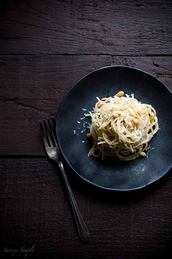 Spaghetti with Parmesan and Pine Nuts