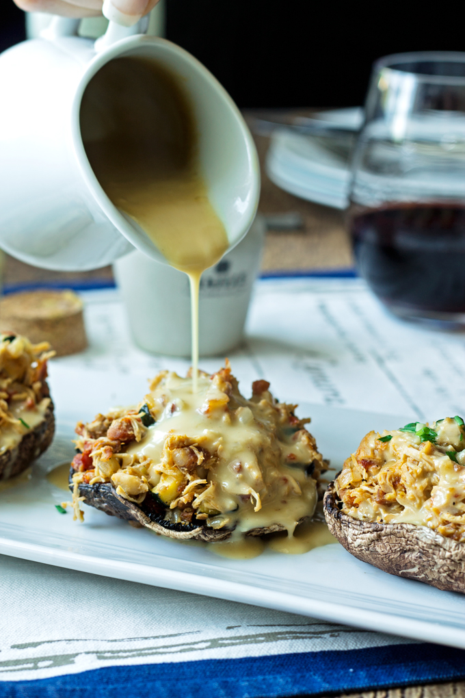 Stuffed Portobello Mushrooms with a Wine & Maille Mustard Sauce