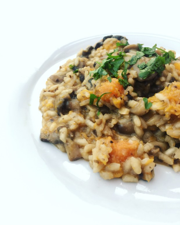 Vegan mushroom and squash risotto