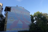 Pink giraffes Kiev street art