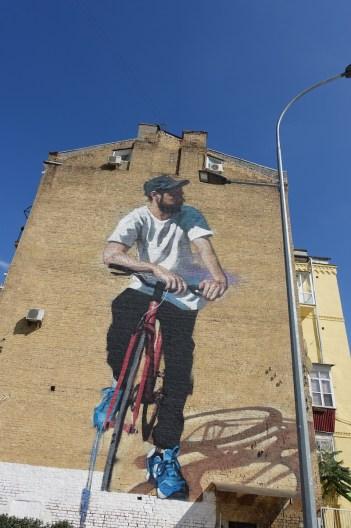 Red bicycle Kiev street art