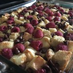 Raspberry dark chocolate bread pudding vanilla custard