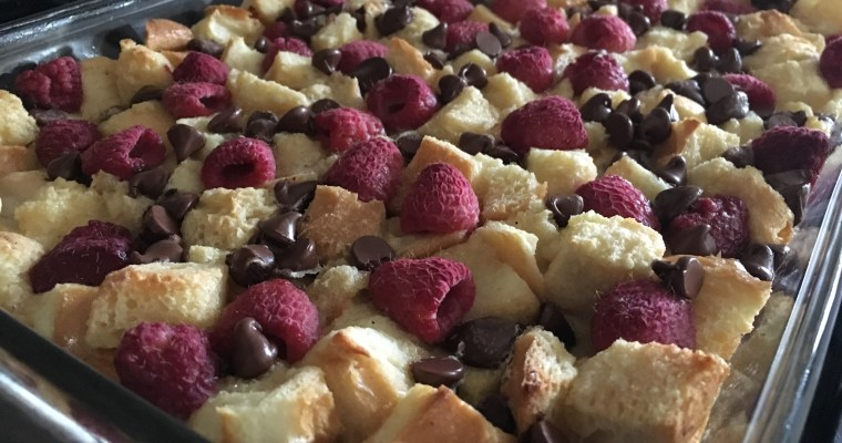 Raspberry Dark Chocolate Bread Pudding